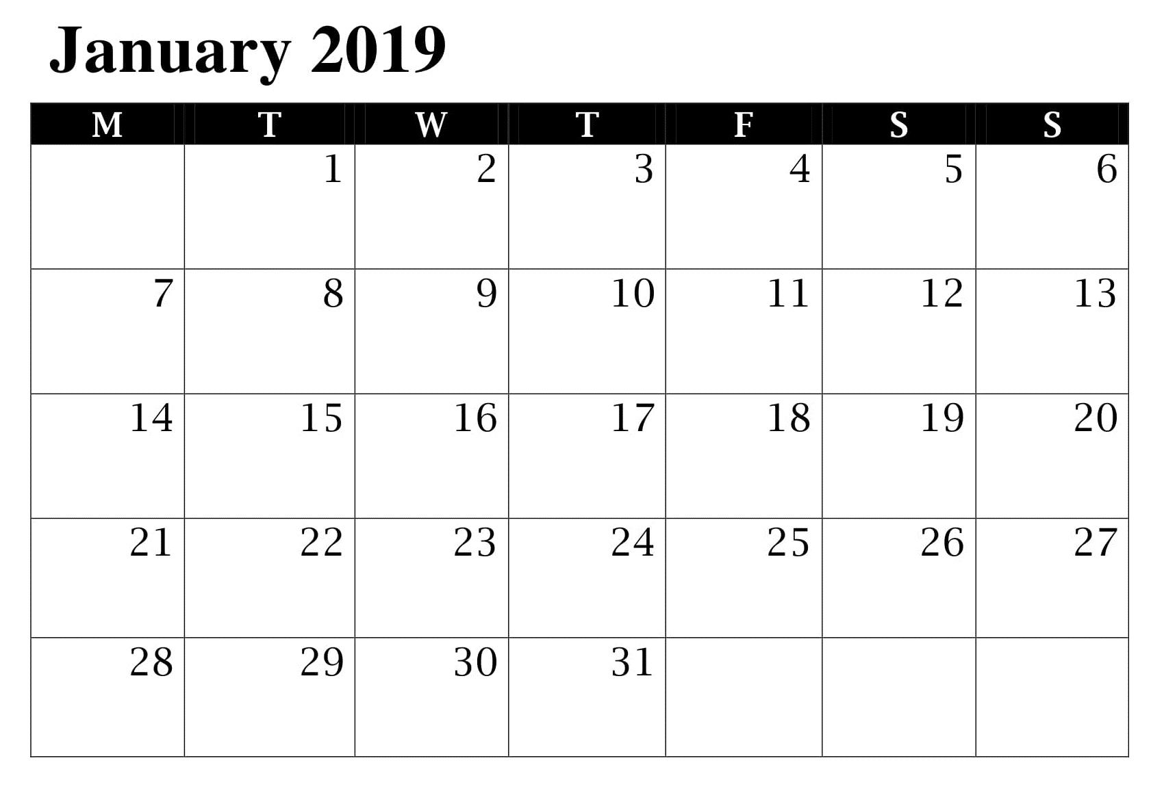 Printable Calendar January With Images