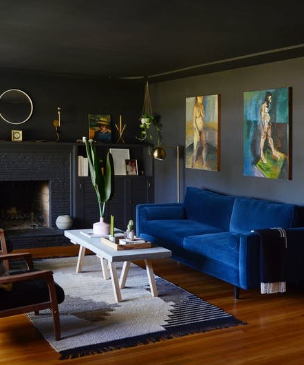 painting your living room furnishings and design how to pull off black bright bold it is possible rock super dark paint on the walls ceilings shelving mantel fireplace etc