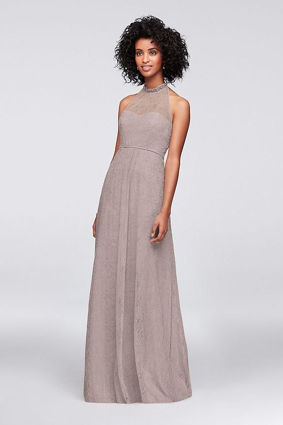 Allover Chantilly Lace A Line Bridesmaid Dress Davids Bridal