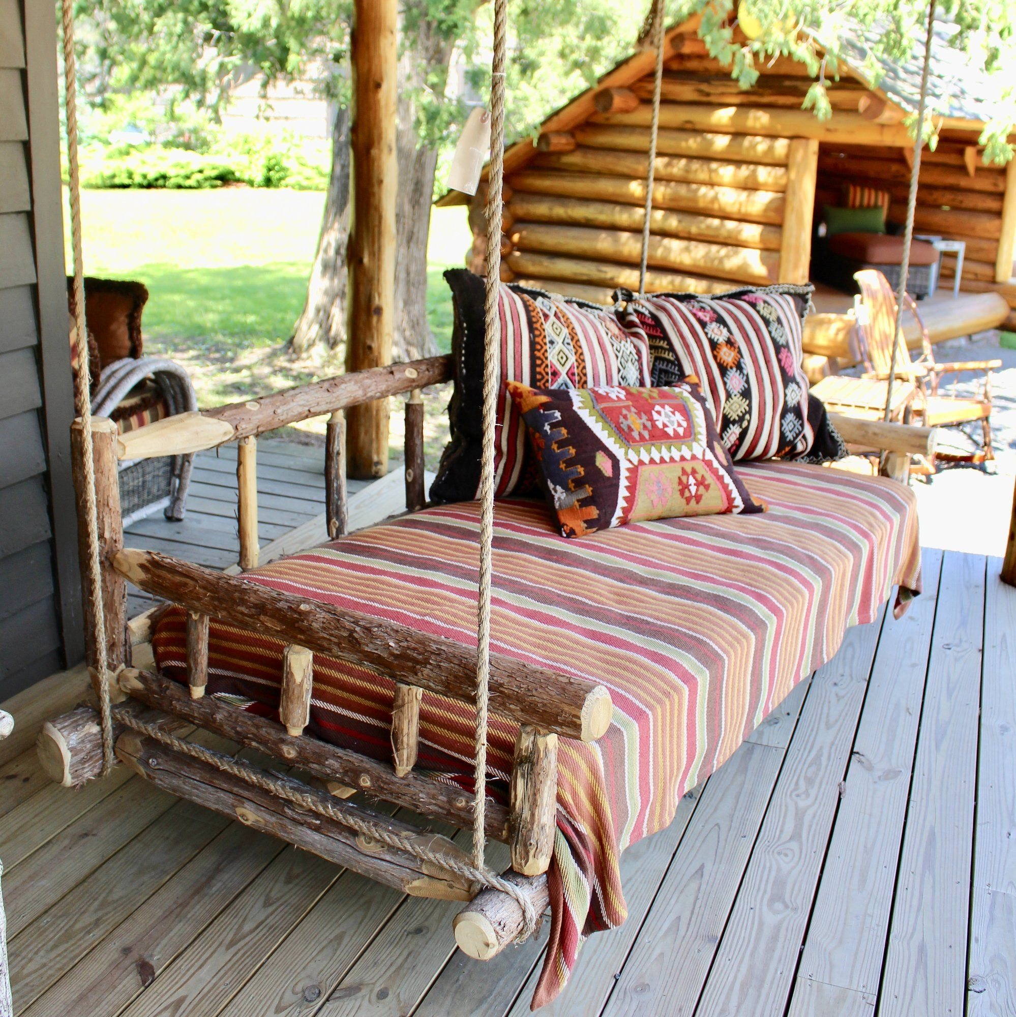 Great Camp Porch Swing Bed #rusticporchideas