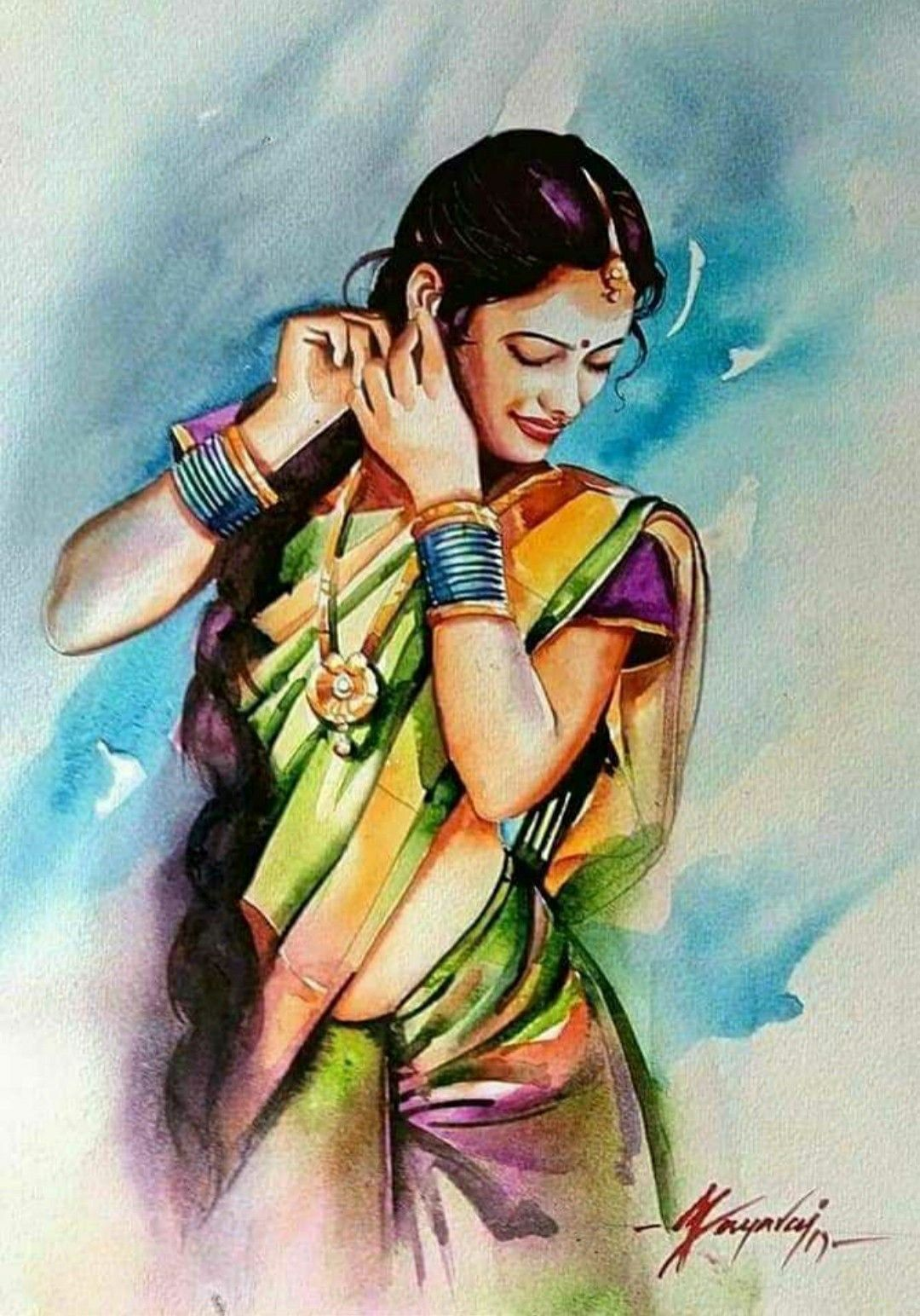 Pin By Pauline Kuebler On Watercolor Female Art Painting Indian