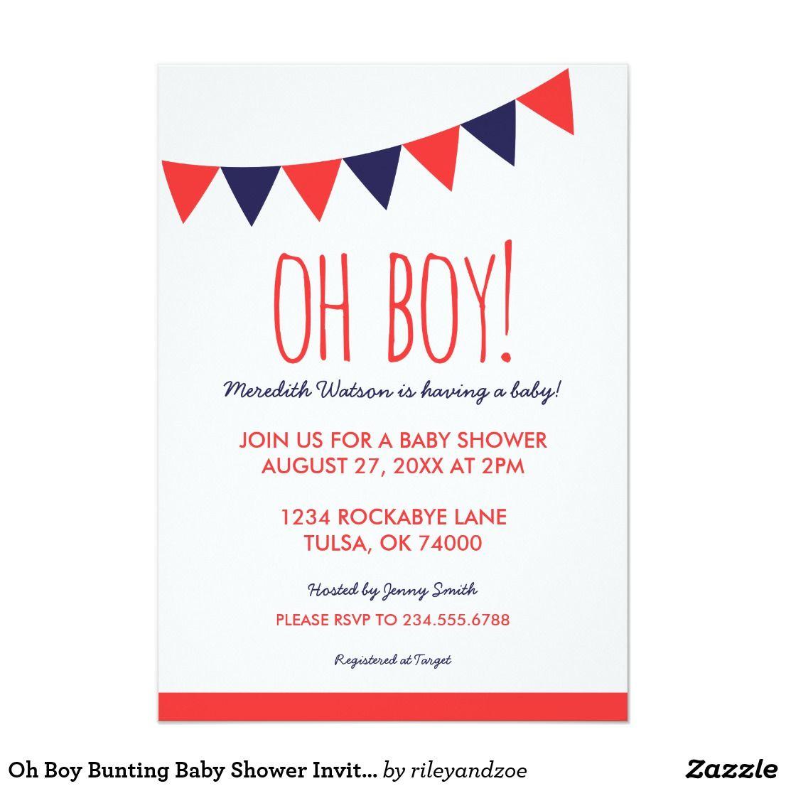 Oh Boy Bunting Baby Shower Invitation Cute simple modern boy baby ...