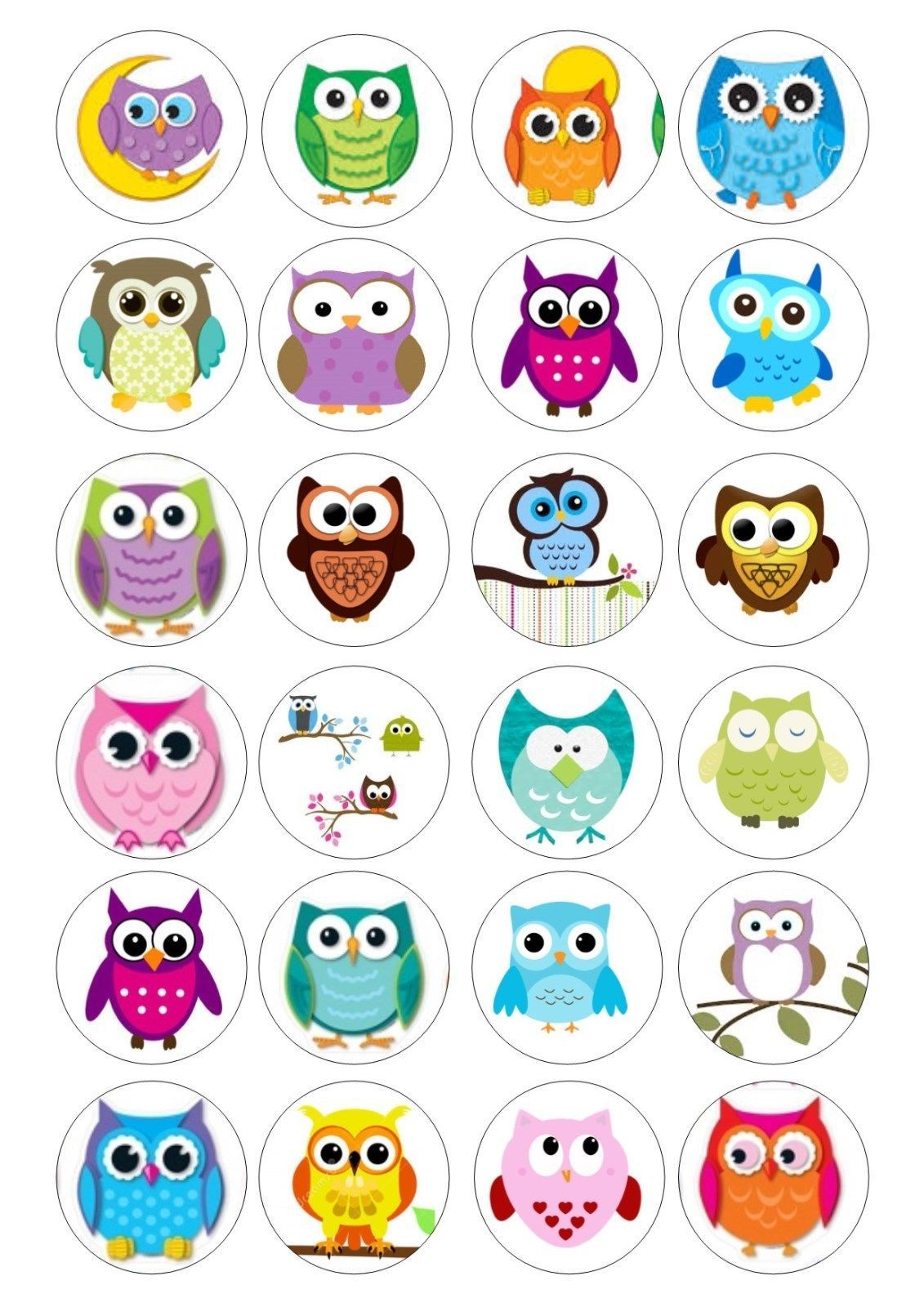 24 Owl Owls Cupcake Topper Wafer Rice Paper Edible Fairy Cake