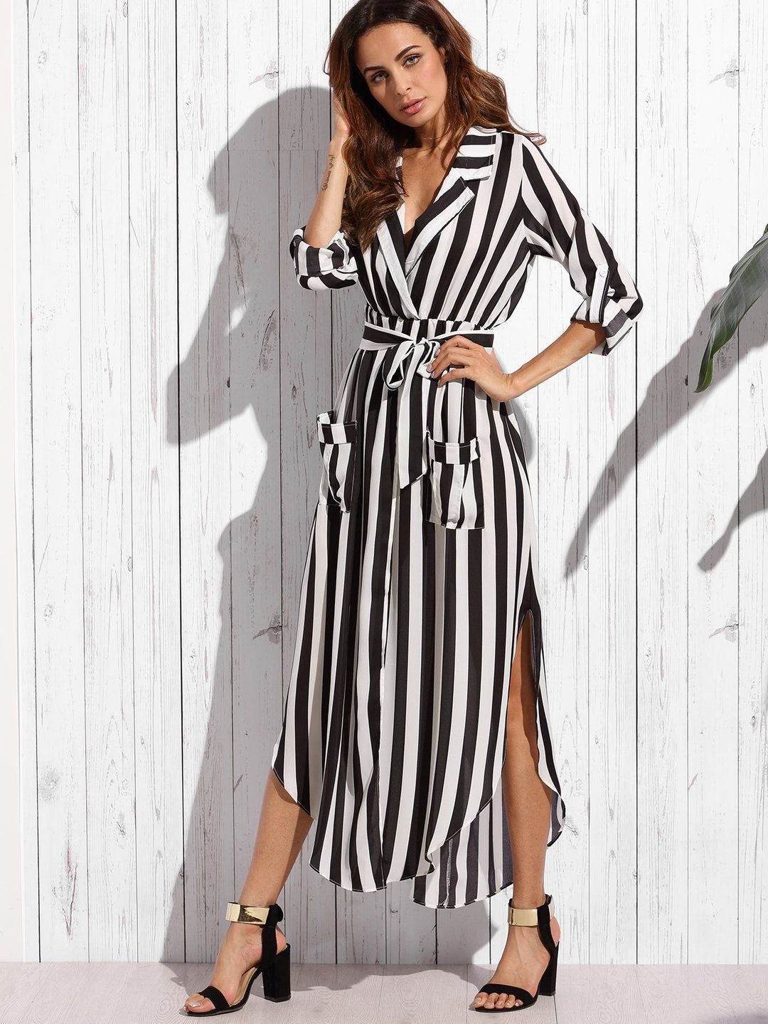 Contrast vertical striped notch lapel belted shirt dress blouses