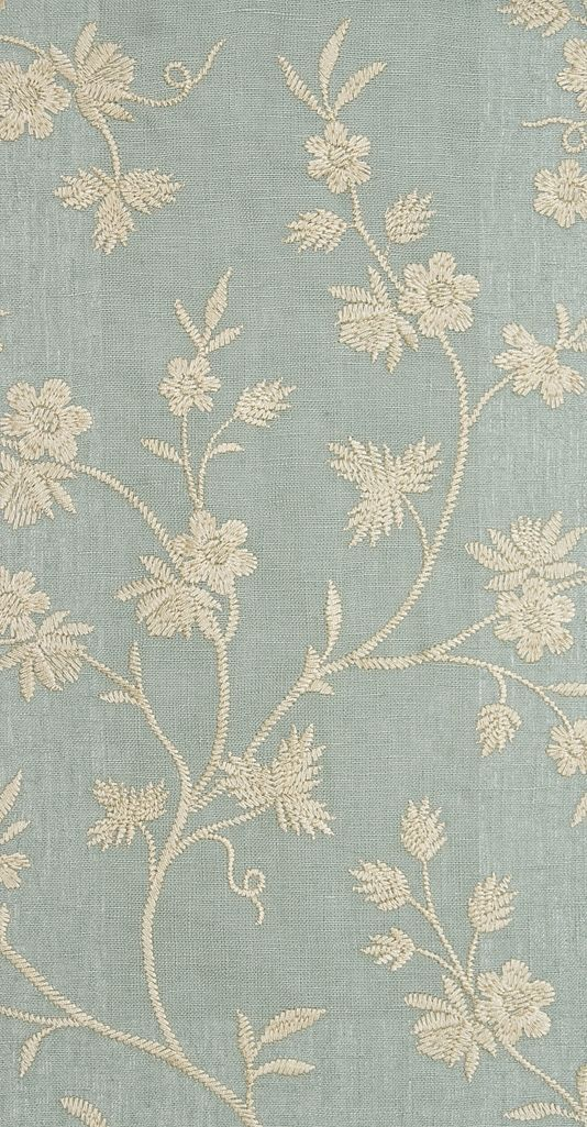 Hermione Embroidered Curtain Fabric Sea Blue Linen Pattern