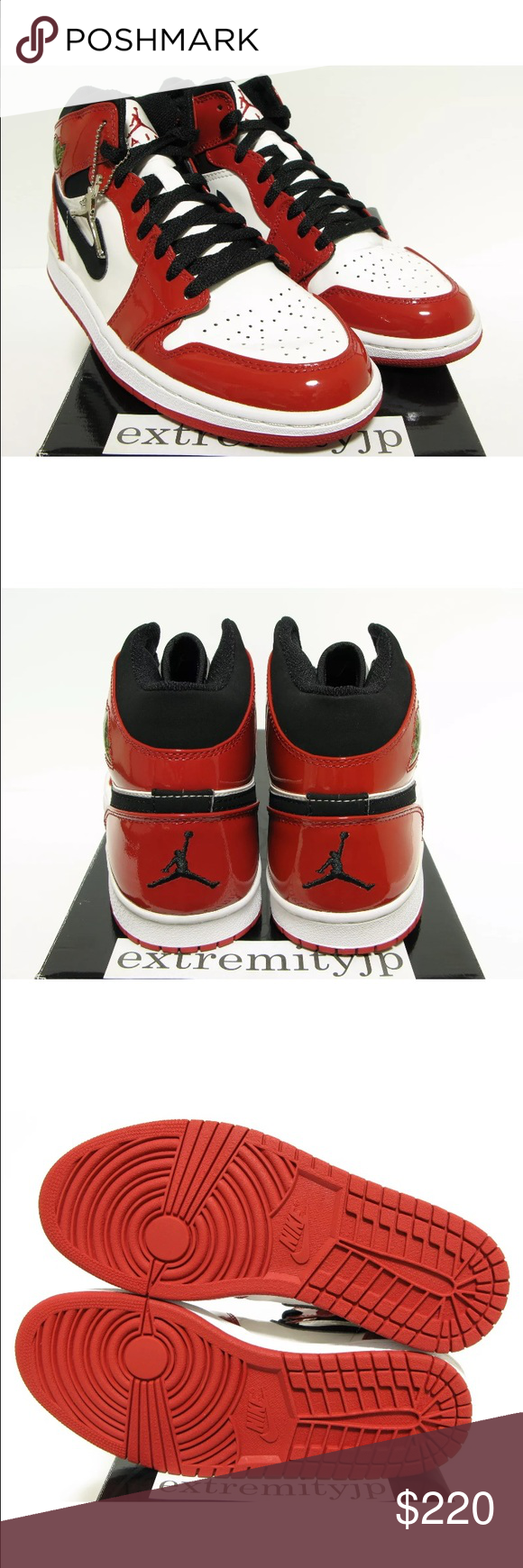 super popular ccba2 4d6e3 Chicago 1 s Brand New Deadstock 2003 Nike Air Jordan 1 Retro Patent White  Black-Varsity Red Style Number 136085-106 Comes With Original Box Jumpman  Keychain ...