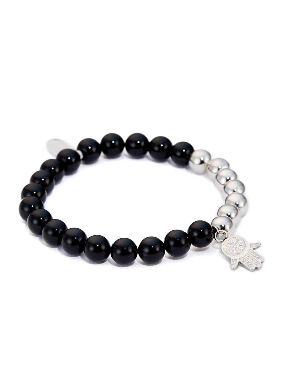 Black onyx u silver uhand of fatimau charm bracelet jewellery