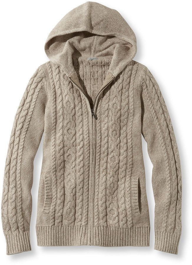 Double L Mixed Cable Sweater, Zip-Front Hoodie Marled | Women ...