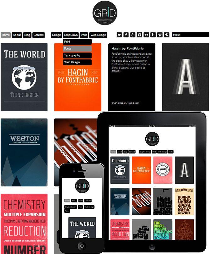 Grid Theme Responsive | UX/UI | Pinterest