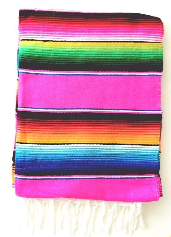 Image of THE NEPTUNE w. FRINGE: Bright Pink & Multi-Colored Mexican Serape Saltillo Beach Blanket