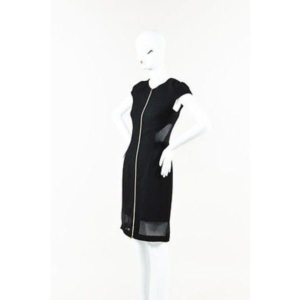 Pre-Owned L'agence Black Gold-Tone Front Zip Cap Sleeve Mesh Detail... ($105) ❤ liked on Polyvore featuring dresses, sexy little black dresses, little black dress, sexy cocktail dresses, sexy mesh dress and cap sleeve cocktail dress