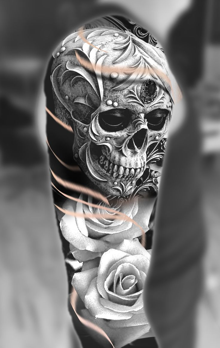 Photo of Skull #and #roses #shoulder #tattoo #design, #design #roses #skull #shoulder #shouldert …