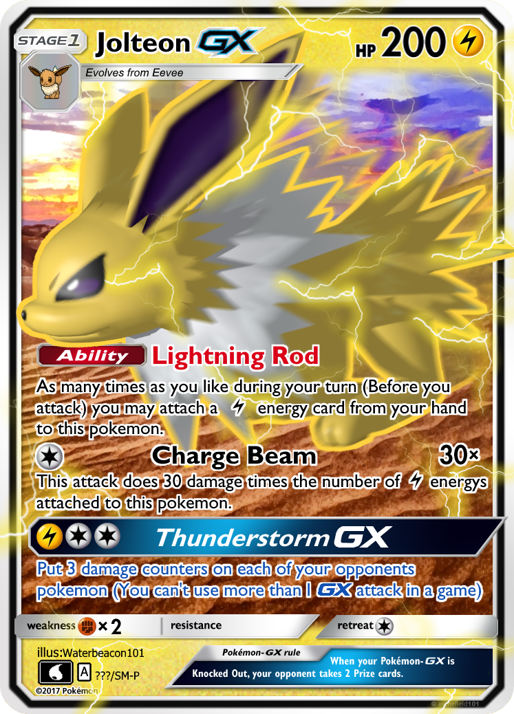 Jolteon Gx By Waterbeacon Pokemon Cards Pokemon Cards Legendary Pokemon Tcg Cards