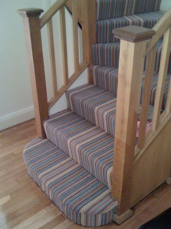 striped carpet on stairs winder not right. Black Bedroom Furniture Sets. Home Design Ideas