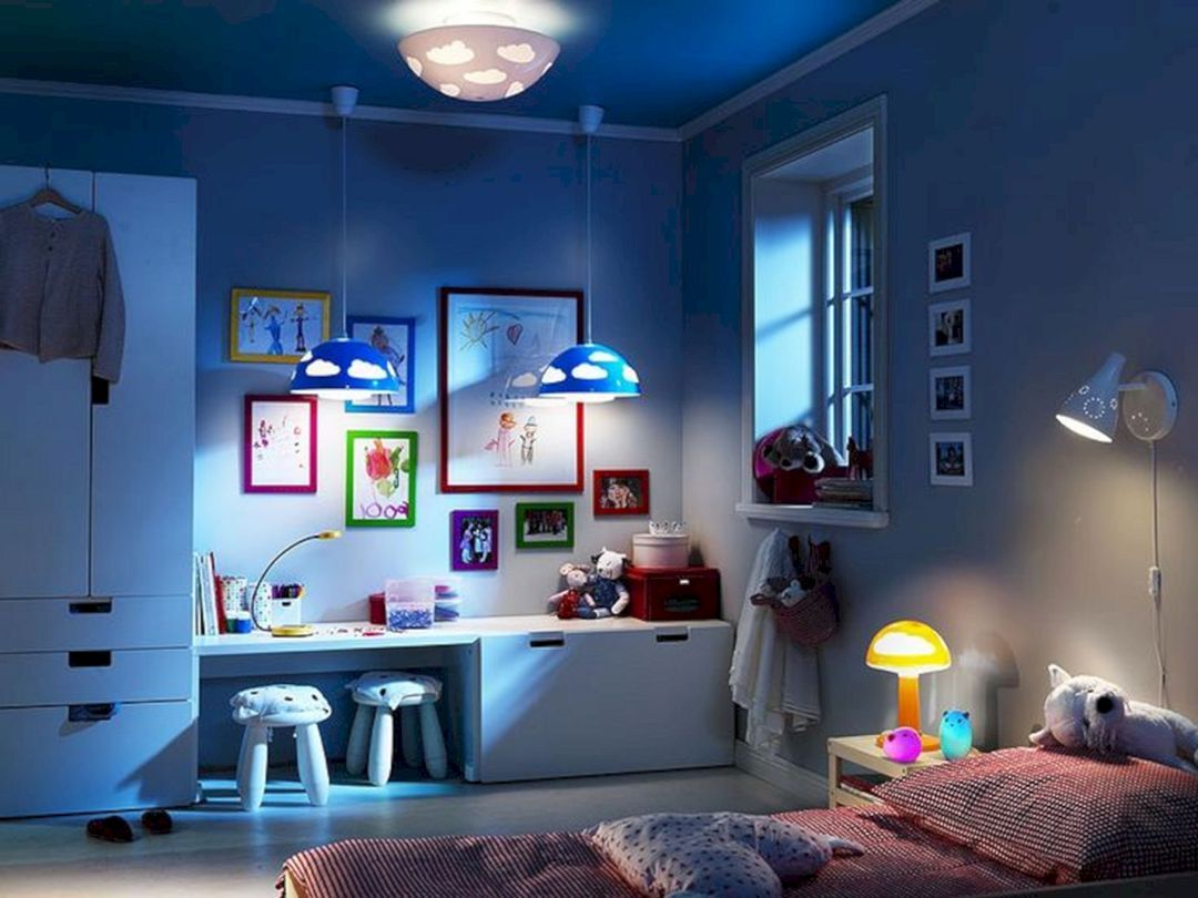 24 Affordable Child S Bedroom Decoration Ideas That Make Their Happy Kids Room Lighting Childrens Bedroom Lighting Boys Room Blue