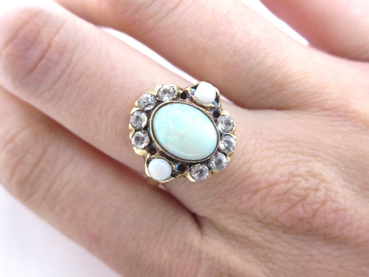 RESERVED Layaway 1st Pmt - Opal Ring - 10k Gold - Antique Victorian ...