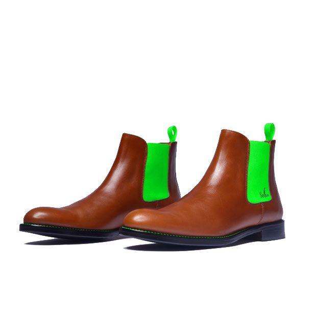 a2963dae83e2e9 Serfan Chelsea Boot Men Cognac Smooth Leather Green Spandex ...
