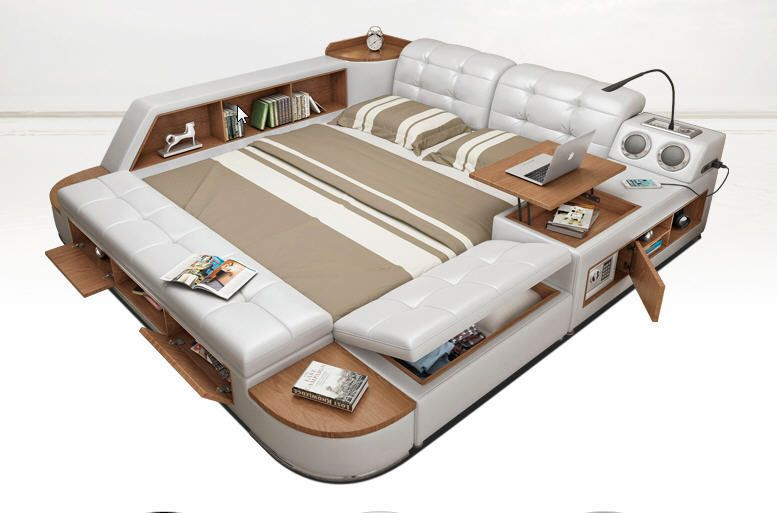 All In One Bed Post Modern Style Real Leather King Size Storage Box Sideboard Home Garden Fur Leather Bed