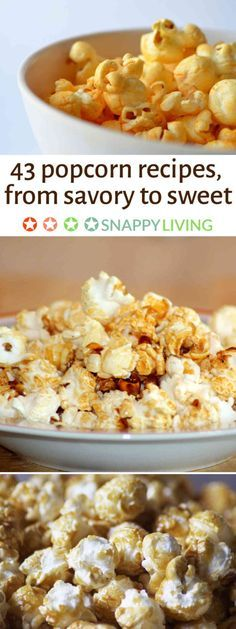Mmmm, popcorn! It's one of my favorite treats with just plain butter and salt, but there are so many other ways you can go with it. Sweet, salty, mixed with nuts or toffee - these popcorn recipes can turn this treat into a side dish, a dessert or a main feature.