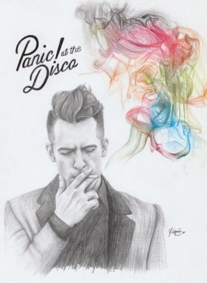 Graphite Colored Pencil Drawing Of Panic At The Disco Album Cover Art Album Cover Art Panic At The Disco Fan Art Drawing