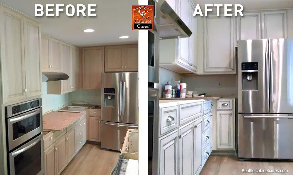 Before and after cabinet refacing. | Diy cabinet doors ...