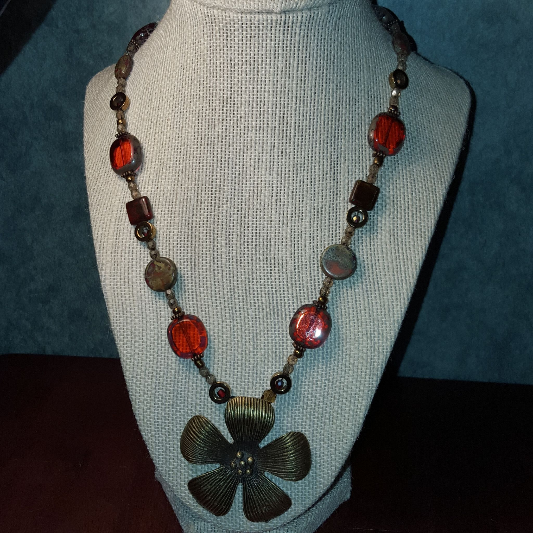 Red Glass and Brass Dogwood Necklace