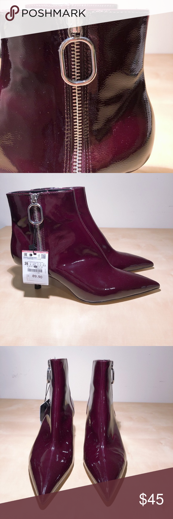 d90b130aee59 NWT Zara Burgundy Patent Heeled Ankle Boots New with tags. Burgundy color  in patent finish