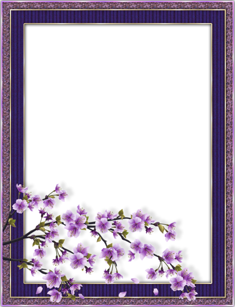 Purple Transparent Flower Frame Flower frame, Boarders