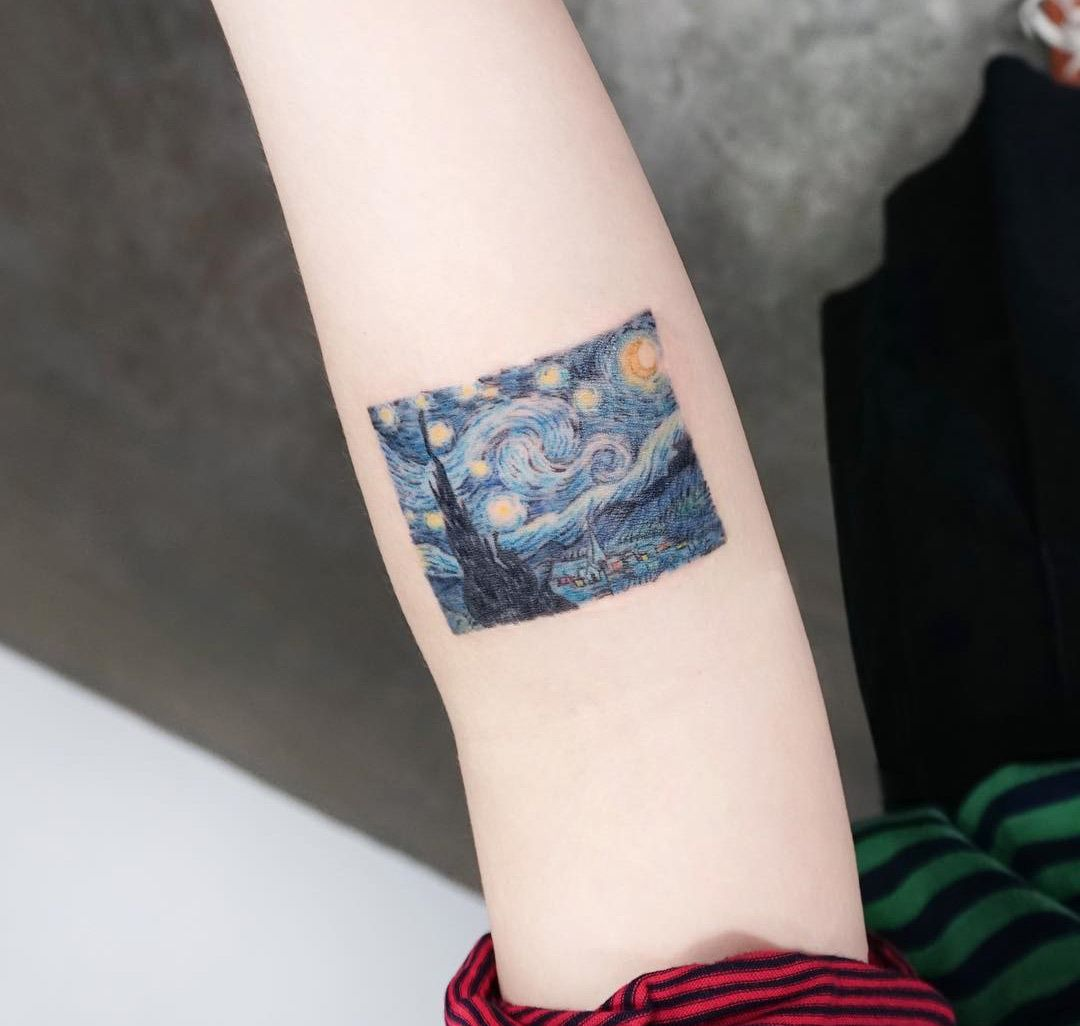 The Starry Night By Van Gogh Tattoo Forearm Tattoos Cool