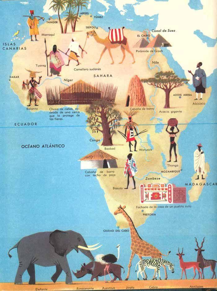 Herbert Pothorn  Vintage map of Africa  Dibujos  Pinterest