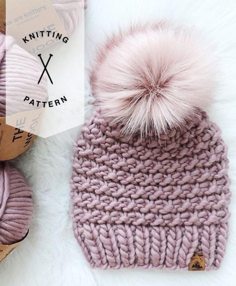 Hat Knitting Pattern Super Bulky Knitting Hat Pattern The Etsy In 2021 Hat Knitting Patterns Knitting Patterns Free Hats Bulky Yarn Patterns