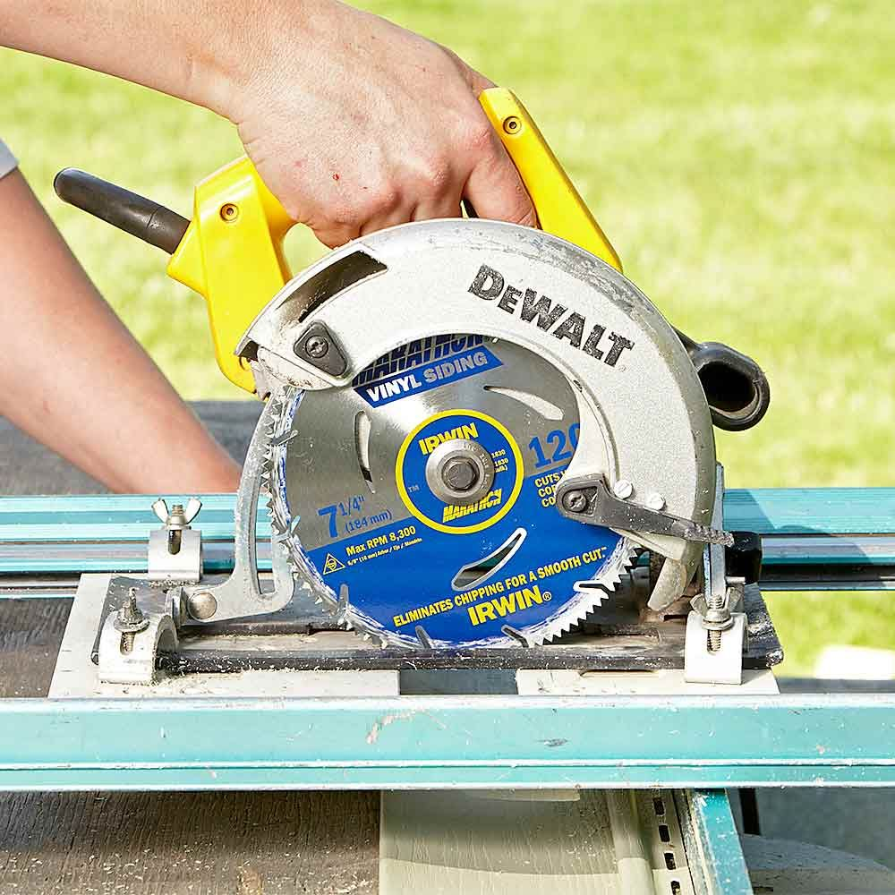 13 simple vinyl siding installation tips vinyl siding vinyl pushing through vinyl siding with a wood blade in your circular saw will cause the siding greentooth Gallery