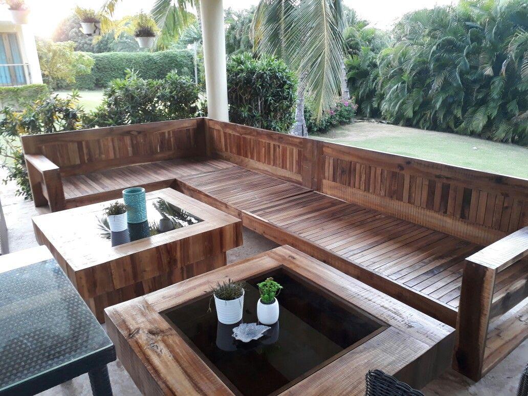 Mueble Rustico Para Terraza En Madera Acacia Y Mesas De Centro Acabado Natural Adquiere El Tuyo En Yaluzestudio Yaluzestudio Furniture Interiordesign Gard