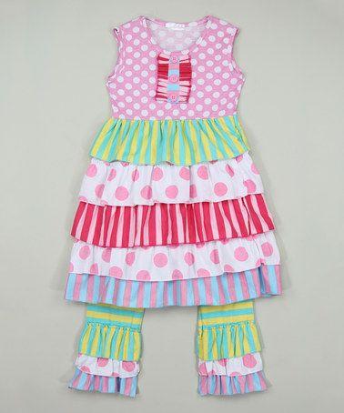 Look at this #zulilyfind! Pink Tiered Tunic & Stripe Ruffle Pants - Infant, Toddler & Girls #zulilyfinds