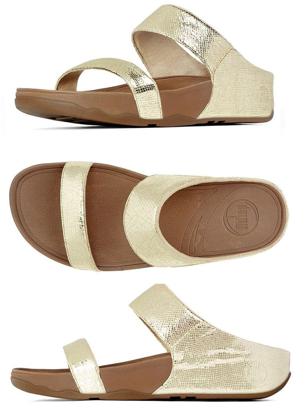 c2246e646 FitFlop Lulu Lustra Slide Sandals in Pale Gold - Free Shipping on Purchase  of 95