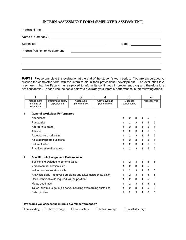 Intern Assessment Form Employer  Business Management