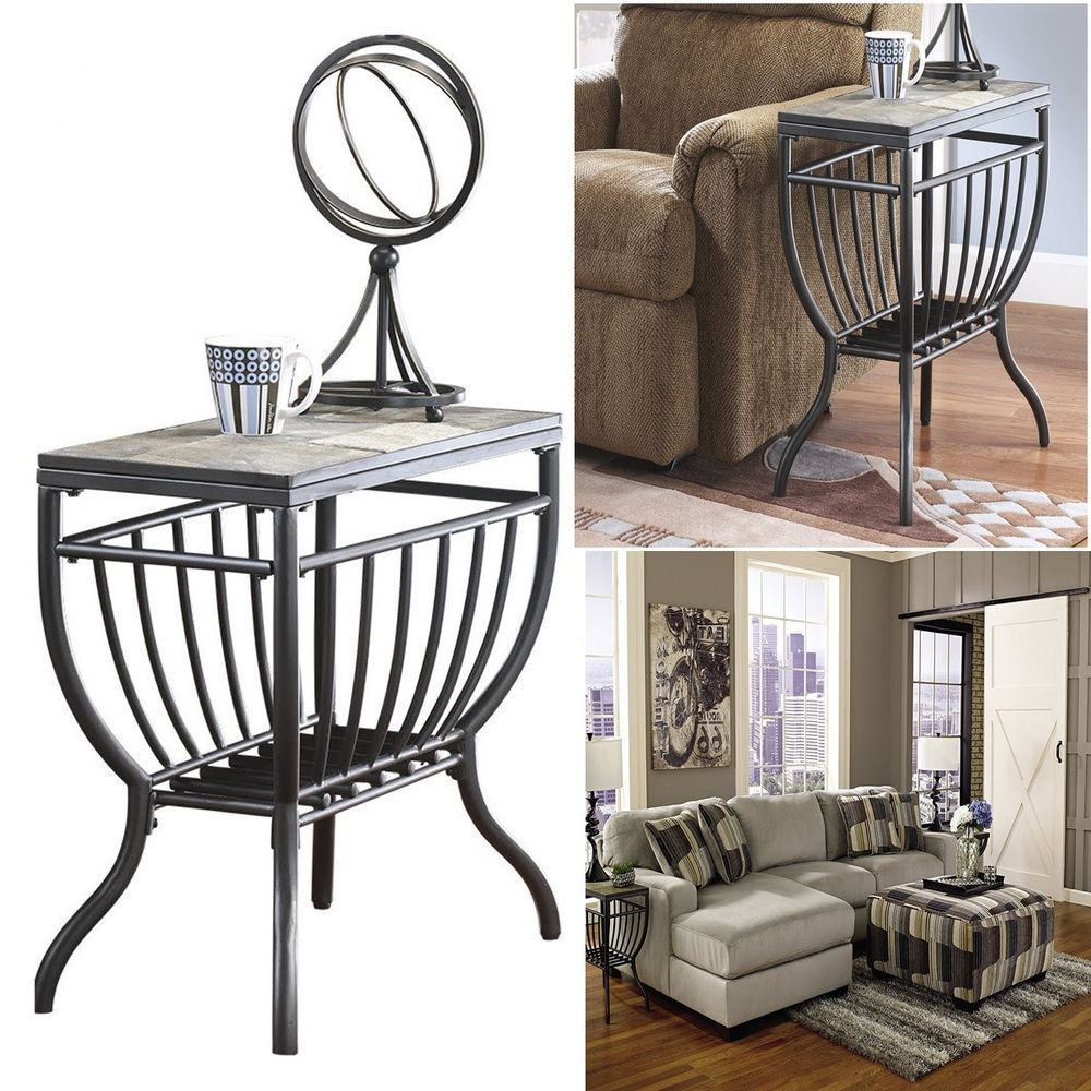 Slate Top End Table Night Stand Side Stockpiling Furniture Lounge