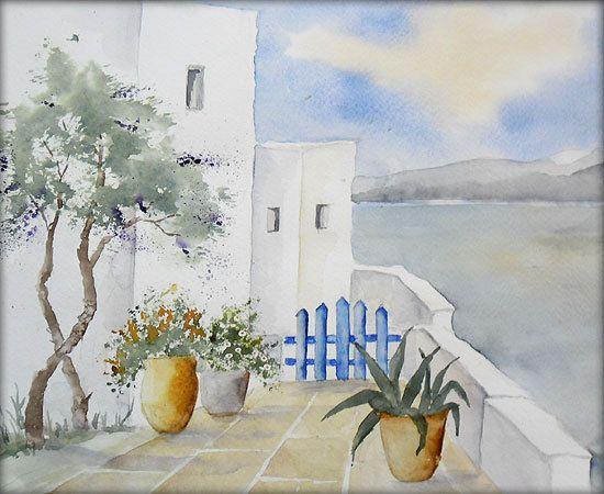 Griechische Impressionen Aquarell 24 X 30 Cm Original