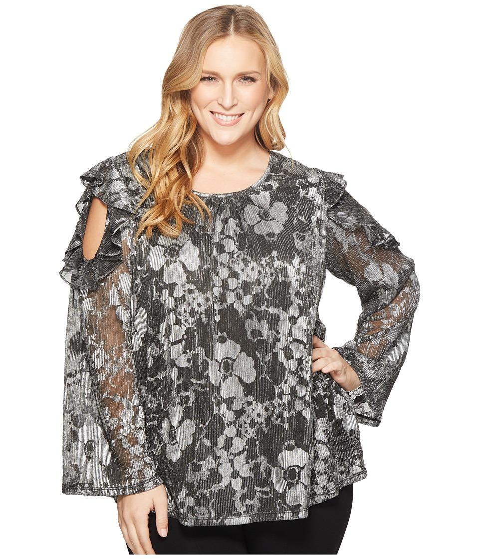 e551f7d4ddb1c8 MICHAEL Michael Kors Plus Size Ruffle Cold Shoulder Long Sleeve Top Women's  Clothing Black/Silver Foil