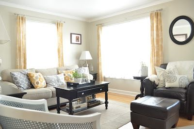 Just So Lovely Painted Their Living Room Valspar Oatlands Subtle Taupe What A Perfect Light Tan Paint Color I Love How She Combined It With Espresso