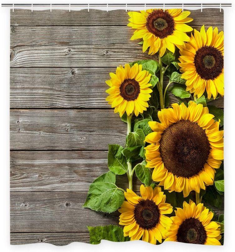 Sunflower Shower Curtains Sunflower Diy In 2020 Rustic Shower