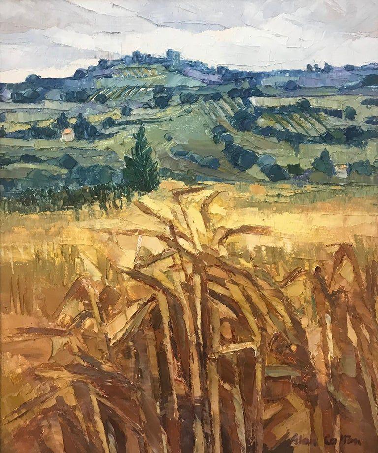 Alan Cotton Harvest Near Casole D Elsa Tuscany Italy Original Oil On Canvas Signed Lower Right Fram Landscape Paintings Oil Painting Landscape Uk Artist
