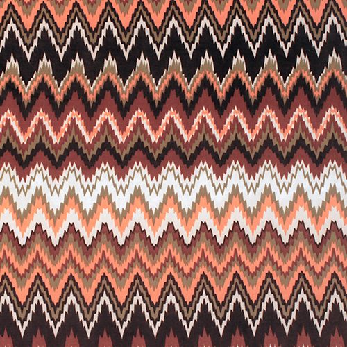 "Sahara Shaky Chevron Nylon Spandex Knit Fabric - Soft Venecia nylon spandex knit in a gorgeous shaky chevron print in colors of brown, peach, sage green, and more. Fabric has a slight 4 way stretch, a silky drape, and is light weight. Dark brown chevron measures 2 1/2"". Great for active wear, swimsuits, wrap dresses, tops, and more!  ::  $6.50"