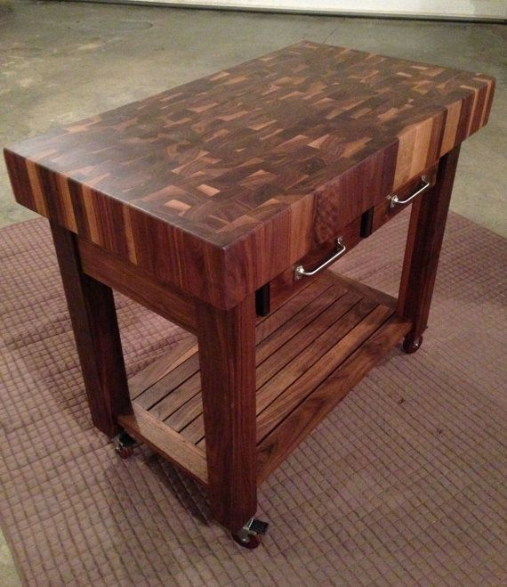Beautiful Black Walnut End Grain Butcher Block Kitchen Cart I