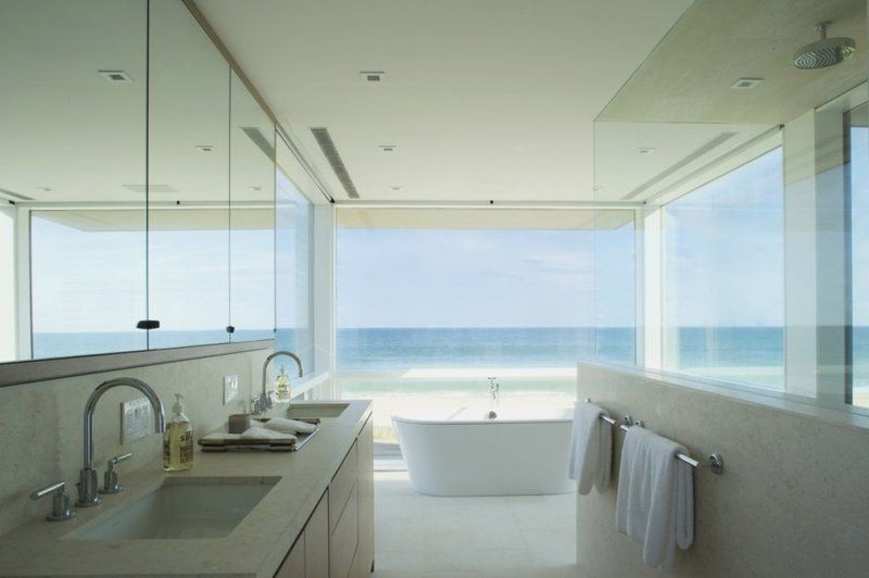 Exceptionnel Beach House Bathroom Marvelous Bathroom Of Three Story Beach House With Big  Glass Opening