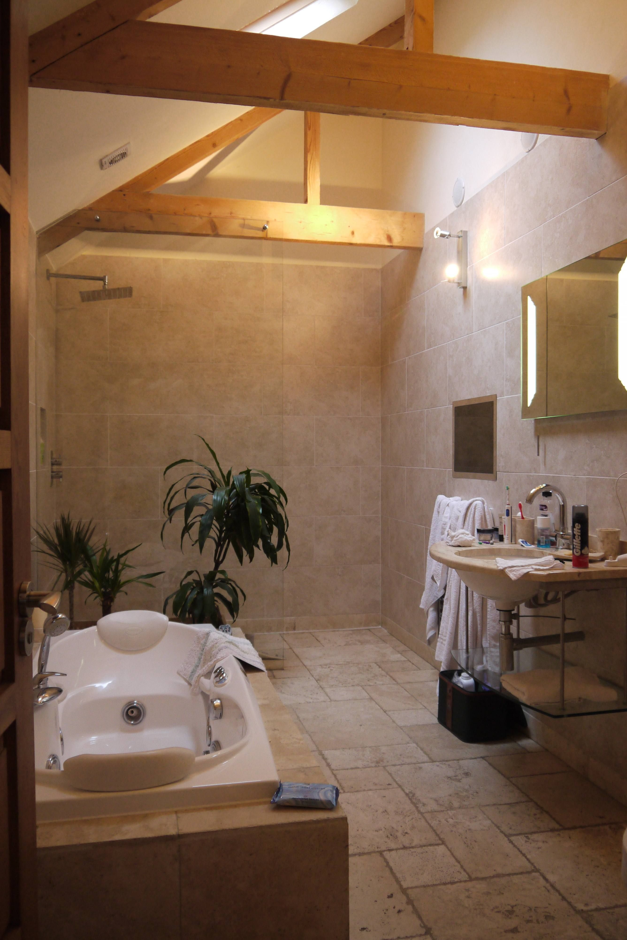 Walk in shower in holiday barn conversion barn for Barn conversion bathroom ideas
