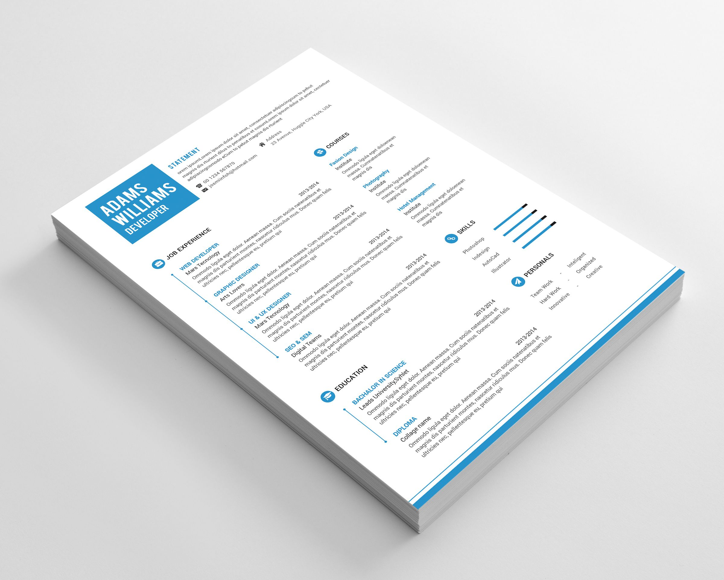 Simple Resume and Cover Letter Template Free PSD Resume