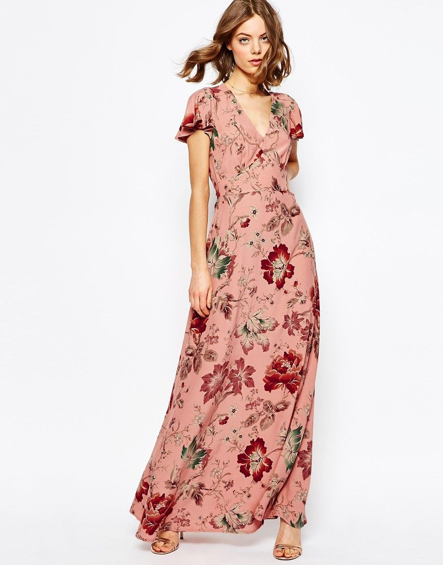 ASOS Occasion Tea Maxi Dress in Soft Wallpaper Print | dream closet ...