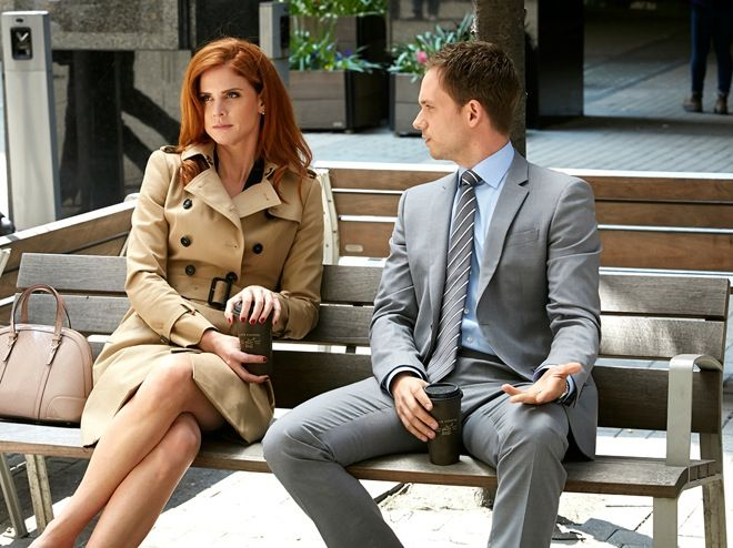 Donna wears Burberry Buckingham trench coat (Image: Suits USA Network)