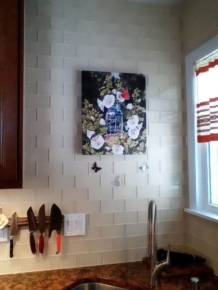 Large Cream Glass Subway Tile Backsplash Flower Pinterest